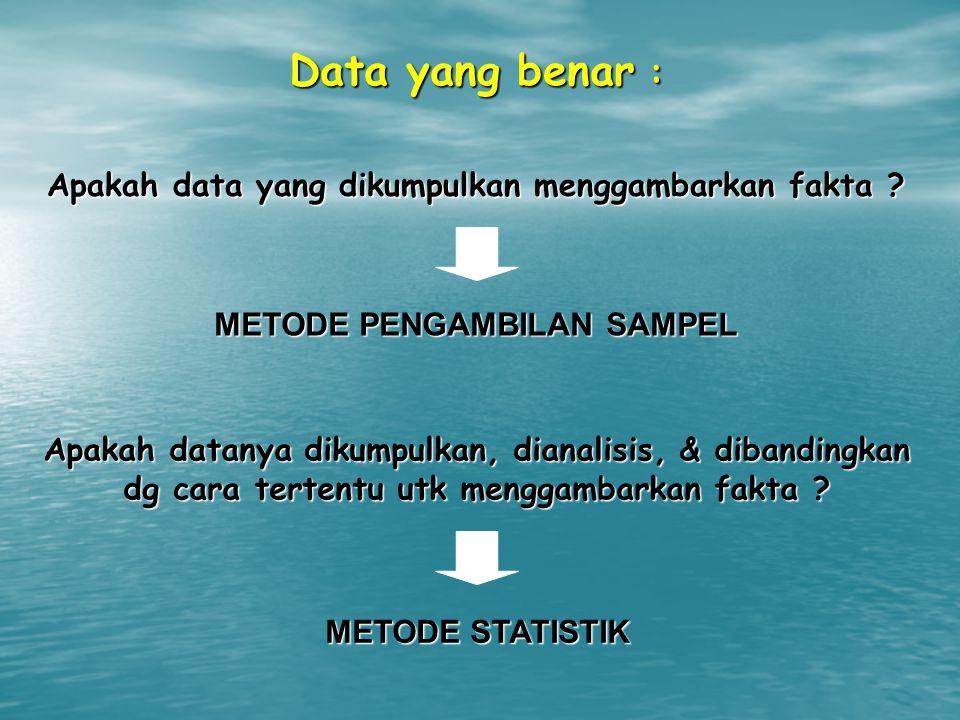 Data yang benar : Apakah data yang dikumpulkan menggambarkan fakta ? METODE PENGAMBILAN SAMPEL Apakah datanya dikumpulkan, dianalisis, & dibandingkan