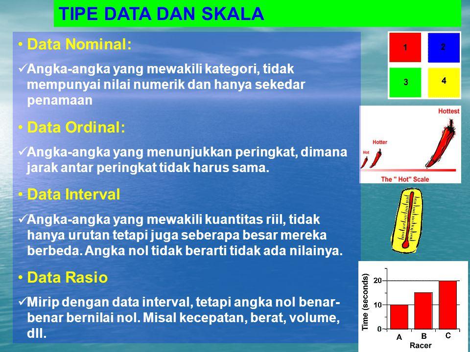 TIPE DATA DAN SKALA Data Nominal: Angka-angka yang mewakili kategori, tidak mempunyai nilai numerik dan hanya sekedar penamaan Data Ordinal: Angka-ang