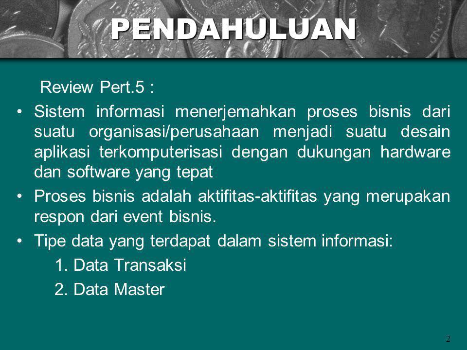 2PENDAHULUAN Review Pert.5 : Sistem informasi menerjemahkan proses bisnis dari suatu organisasi/perusahaan menjadi suatu desain aplikasi terkomputerisasi dengan dukungan hardware dan software yang tepat Proses bisnis adalah aktifitas-aktifitas yang merupakan respon dari event bisnis.