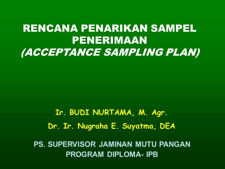 RENCANA PENARIKAN SAMPEL PENERIMAAN (ACCEPTANCE SAMPLING PLAN) Ir. BUDI NURTAMA, M. Agr. Dr. Ir. Nugraha E. Suyatma, DEA PS. SUPERVISOR JAMINAN MUTU P