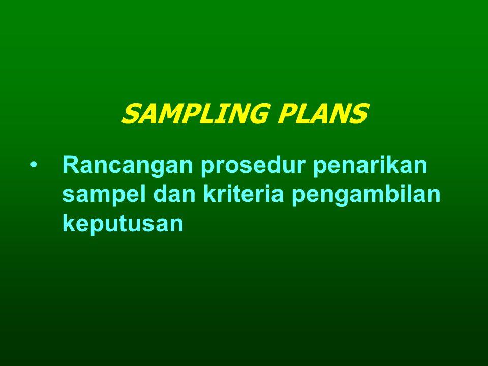 Rancangan prosedur penarikan sampel dan kriteria pengambilan keputusan SAMPLING PLANS