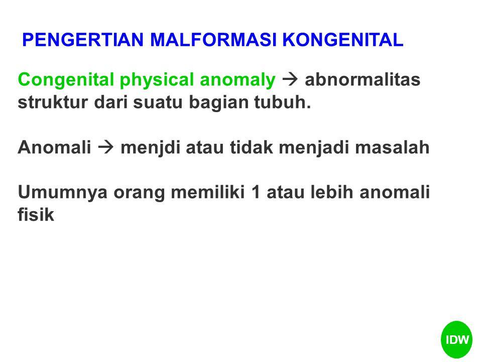 PENGERTIAN MALFORMASI KONGENITAL Congenital physical anomaly  abnormalitas struktur dari suatu bagian tubuh. Anomali  menjdi atau tidak menjadi masa