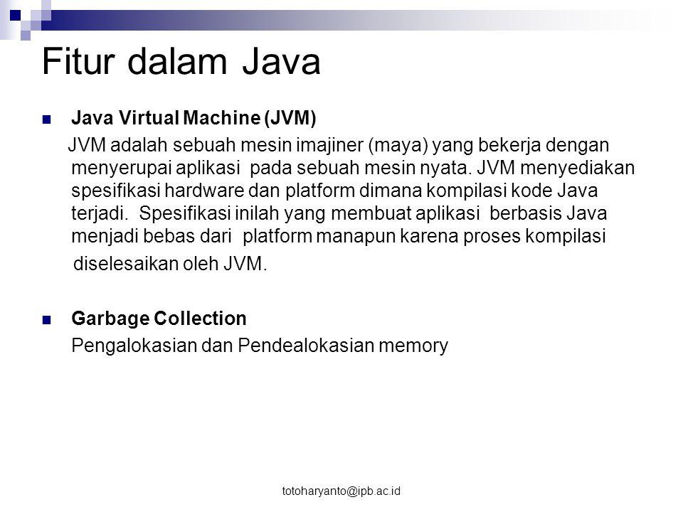 totoharyanto@ipb.ac.id Fase Pemrograman Java javac