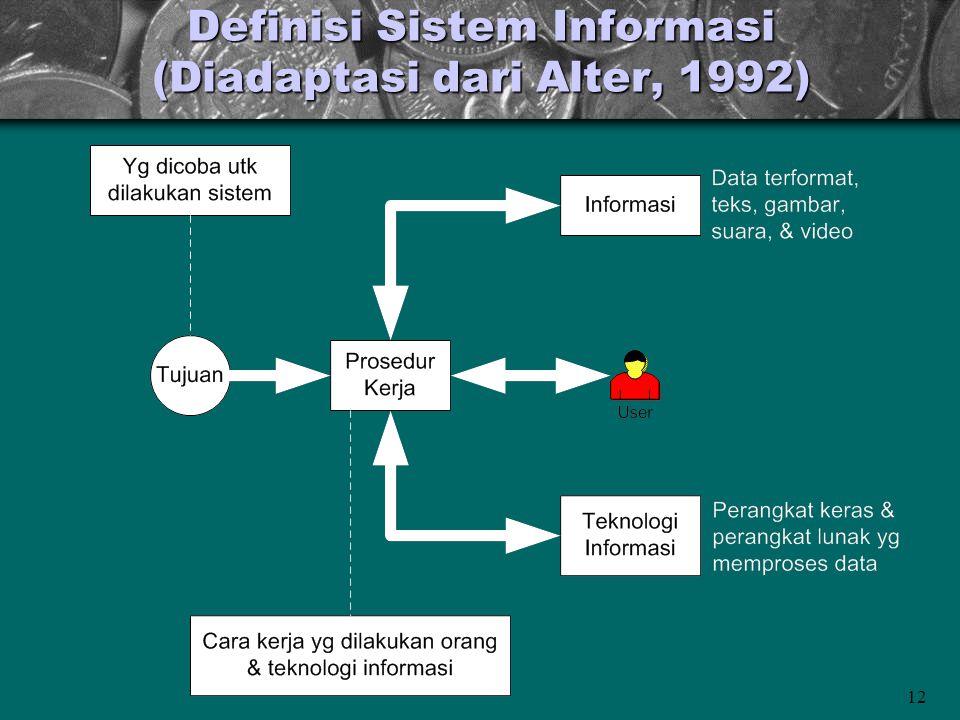 12 Definisi Sistem Informasi (Diadaptasi dari Alter, 1992)