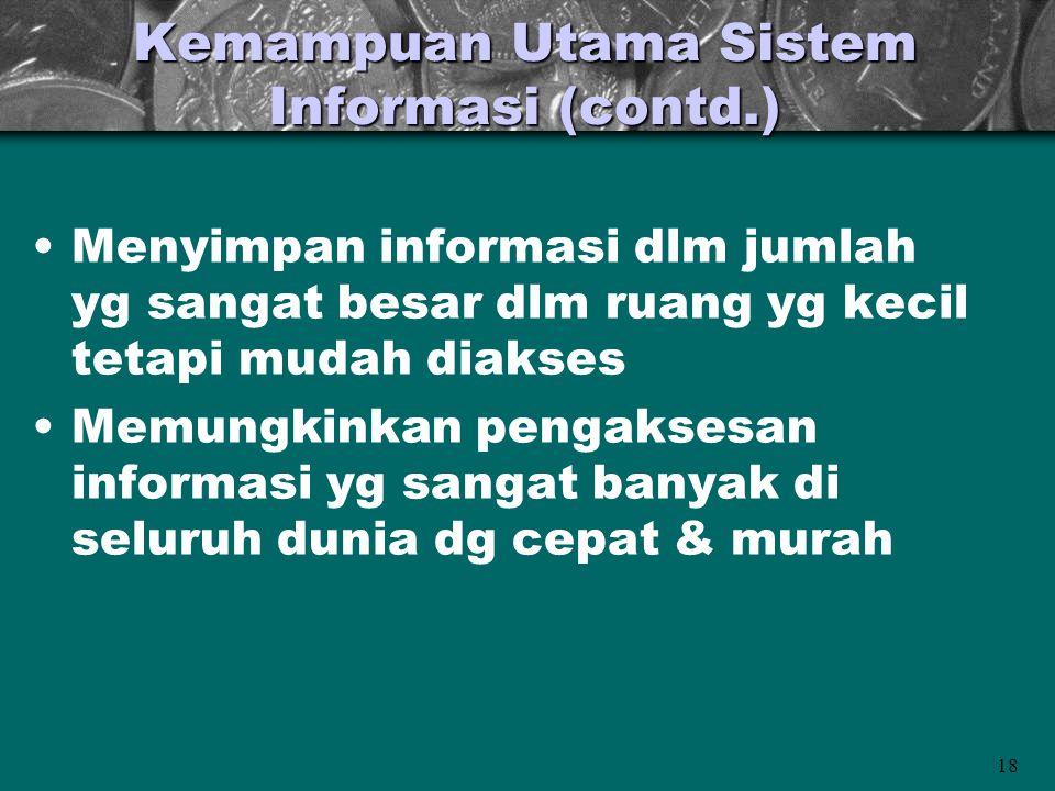 18 Kemampuan Utama Sistem Informasi (contd.) Menyimpan informasi dlm jumlah yg sangat besar dlm ruang yg kecil tetapi mudah diakses Memungkinkan penga
