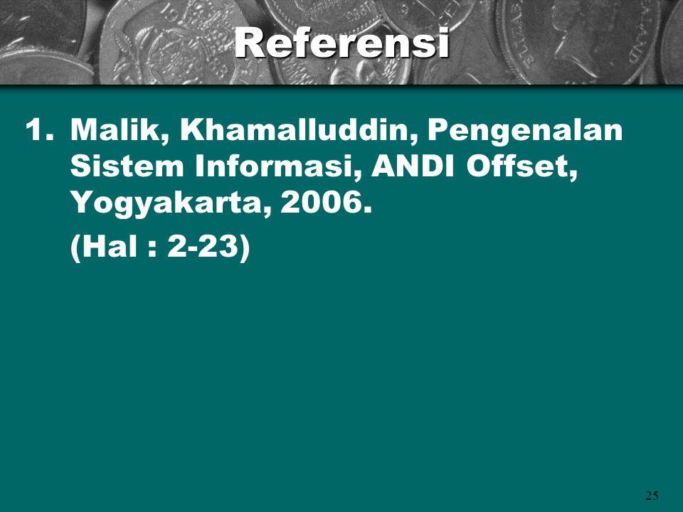 25Referensi 1.Malik, Khamalluddin, Pengenalan Sistem Informasi, ANDI Offset, Yogyakarta, 2006. (Hal : 2-23)