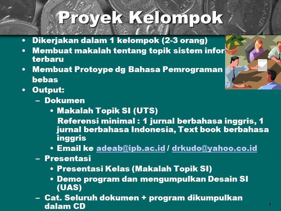 4 Proyek Kelompok Dikerjakan dalam 1 kelompok (2-3 orang) Membuat makalah tentang topik sistem informasi terbaru Membuat Protoype dg Bahasa Pemrograma