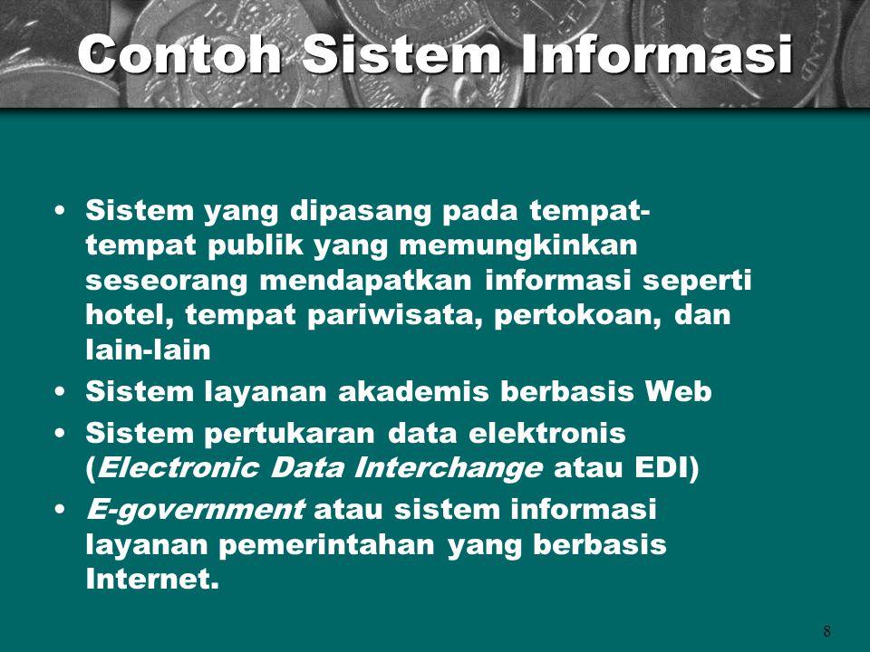 8 Contoh Sistem Informasi Sistem yang dipasang pada tempat- tempat publik yang memungkinkan seseorang mendapatkan informasi seperti hotel, tempat pari