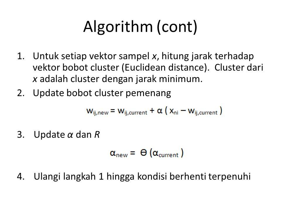 Algorithm (cont) 1.Untuk setiap vektor sampel x, hitung jarak terhadap vektor bobot cluster (Euclidean distance). Cluster dari x adalah cluster dengan