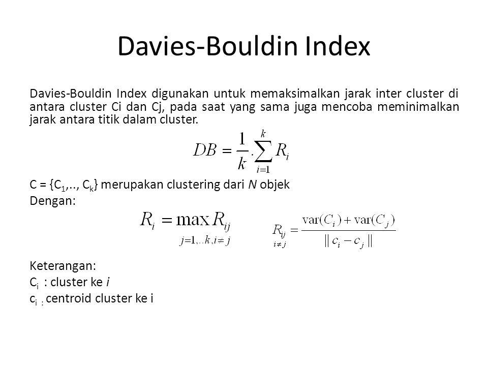Davies-Bouldin Index Davies-Bouldin Index digunakan untuk memaksimalkan jarak inter cluster di antara cluster Ci dan Cj, pada saat yang sama juga menc