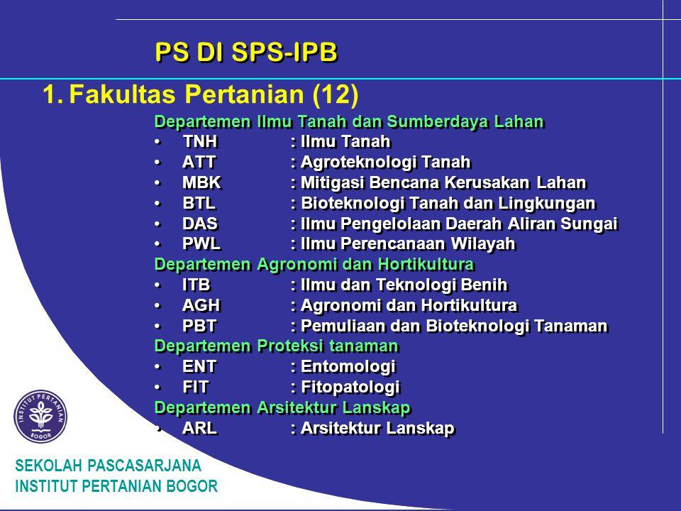 SEKOLAH PASCASARJANA INSTITUT PERTANIAN BOGOR PS DI SPS-IPB 2.