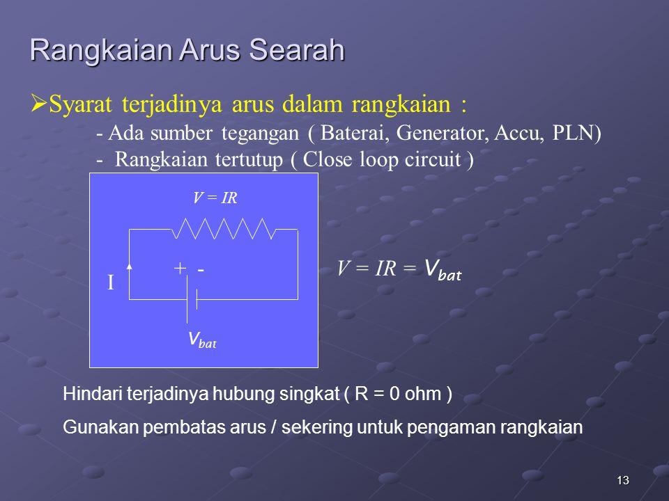 13  Syarat terjadinya arus dalam rangkaian : - Ada sumber tegangan ( Baterai, Generator, Accu, PLN) - Rangkaian tertutup ( Close loop circuit ) I V =