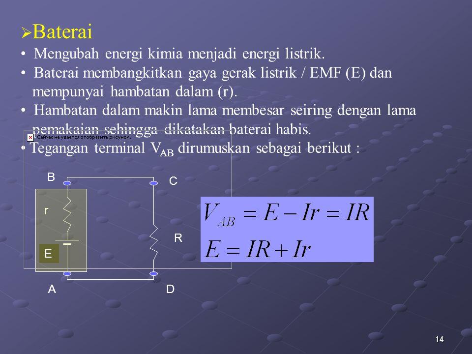 14  Baterai Mengubah energi kimia menjadi energi listrik. Baterai membangkitkan gaya gerak listrik / EMF (E) dan mempunyai hambatan dalam (r). Hambat