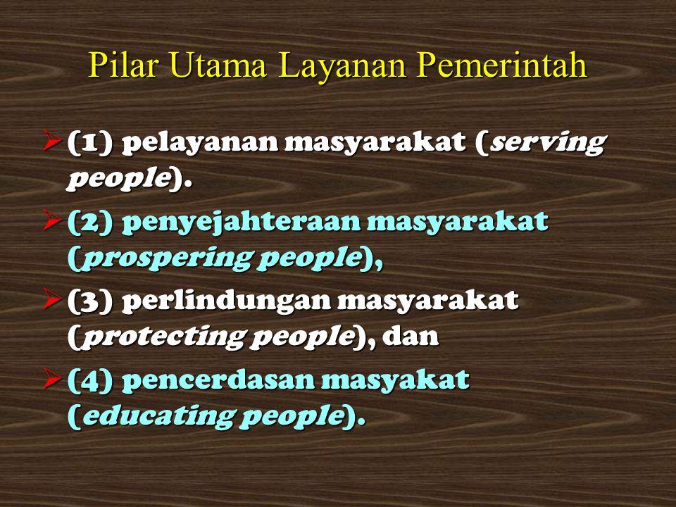 Pilar Utama Layanan Pemerintah  (1) pelayanan masyarakat (serving people).