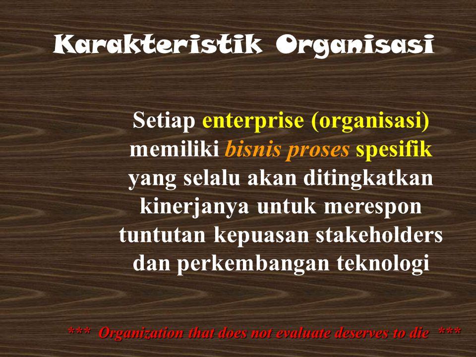 Setiap enterprise (organisasi) memiliki bisnis proses spesifik yang selalu akan ditingkatkan kinerjanya untuk merespon tuntutan kepuasan stakeholders dan perkembangan teknologi Karakteristik Organisasi *** Organization that does not evaluate deserves to die ***
