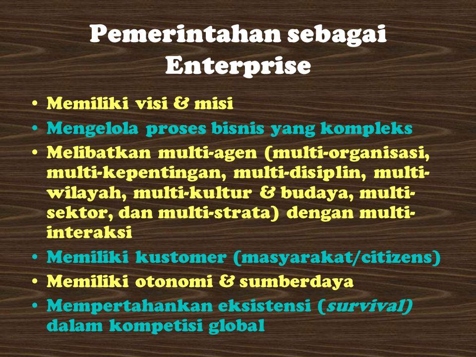 Pemerintahan sebagai Enterprise Memiliki visi & misi Mengelola proses bisnis yang kompleks Melibatkan multi-agen (multi-organisasi, multi-kepentingan, multi-disiplin, multi- wilayah, multi-kultur & budaya, multi- sektor, dan multi-strata) dengan multi- interaksi Memiliki kustomer (masyarakat/citizens) Memiliki otonomi & sumberdaya Mempertahankan eksistensi (survival) dalam kompetisi global