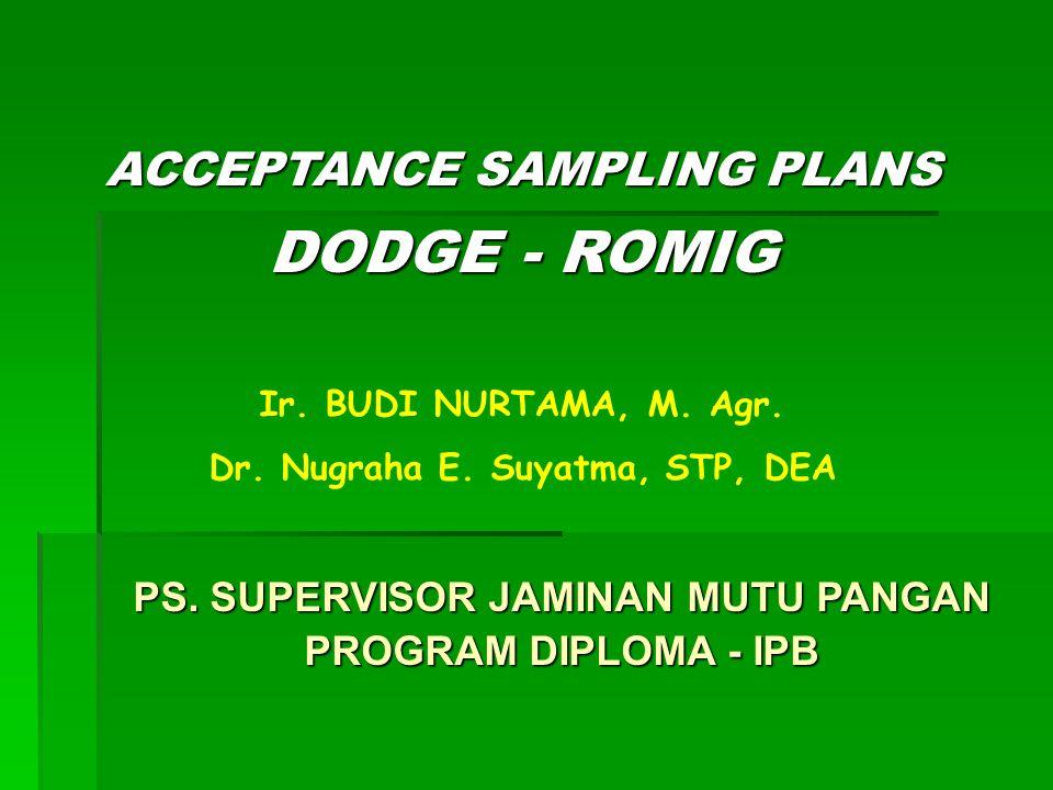 TABEL-TABEL DODGE ROMIG  lot-by-lot acceptance of product  attributes sampling  memberikan inspeksi total yang minimum bagi produk dg suatu rataan fraksi cacat  berdasarkan konsep LTPD dan AOQL