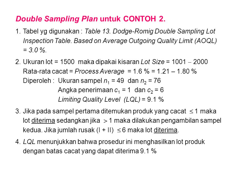 Double Sampling Plan untuk CONTOH 2. 1.Tabel yg digunakan : Table 13. Dodge-Romig Double Sampling Lot Inspection Table. Based on Average Outgoing Qual