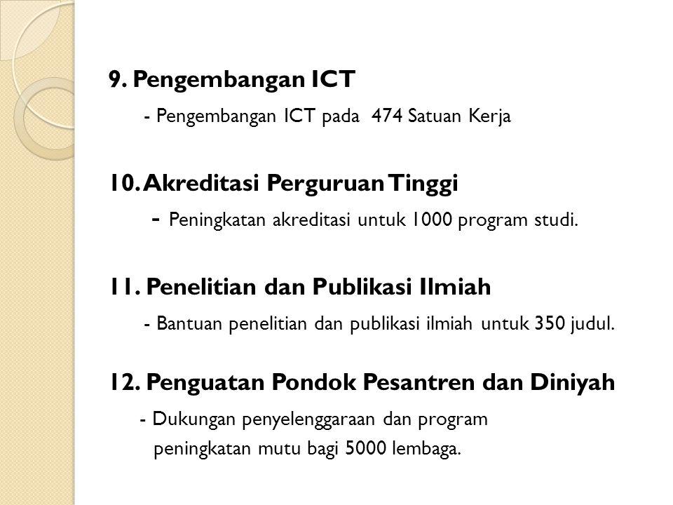 9. Pengembangan ICT - Pengembangan ICT pada 474 Satuan Kerja 10. Akreditasi Perguruan Tinggi - Peningkatan akreditasi untuk 1000 program studi. 11. Pe