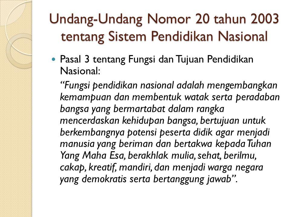 """Undang-Undang Nomor 20 tahun 2003 tentang Sistem Pendidikan Nasional Pasal 3 tentang Fungsi dan Tujuan Pendidikan Nasional: """"Fungsi pendidikan nasiona"""