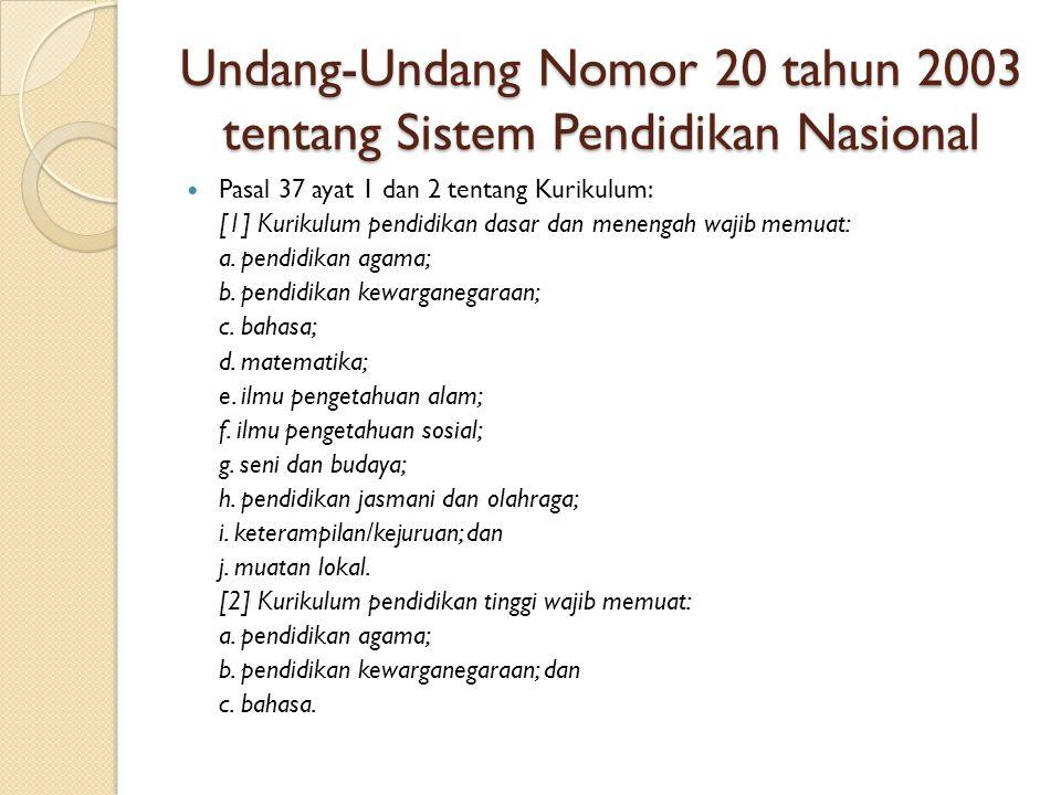 Undang-Undang Nomor 20 tahun 2003 tentang Sistem Pendidikan Nasional Pasal 37 ayat 1 dan 2 tentang Kurikulum: [1] Kurikulum pendidikan dasar dan menen