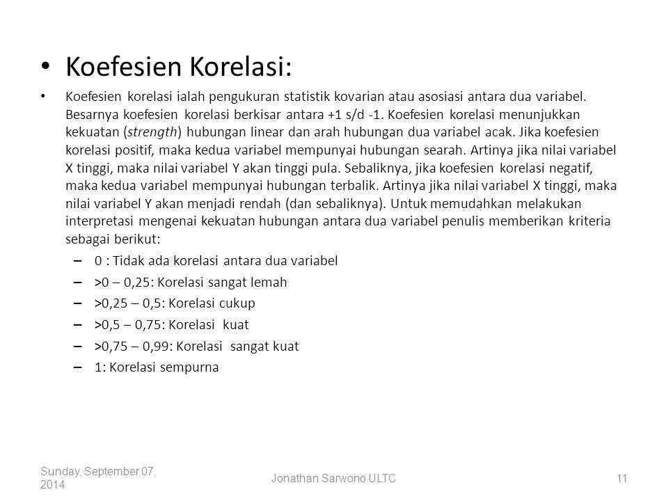 Koefesien Korelasi: Koefesien korelasi ialah pengukuran statistik kovarian atau asosiasi antara dua variabel. Besarnya koefesien korelasi berkisar ant