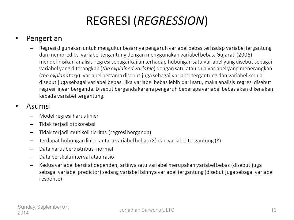 REGRESI (REGRESSION) Pengertian – Regresi digunakan untuk mengukur besarnya pengaruh variabel bebas terhadap variabel tergantung dan memprediksi varia