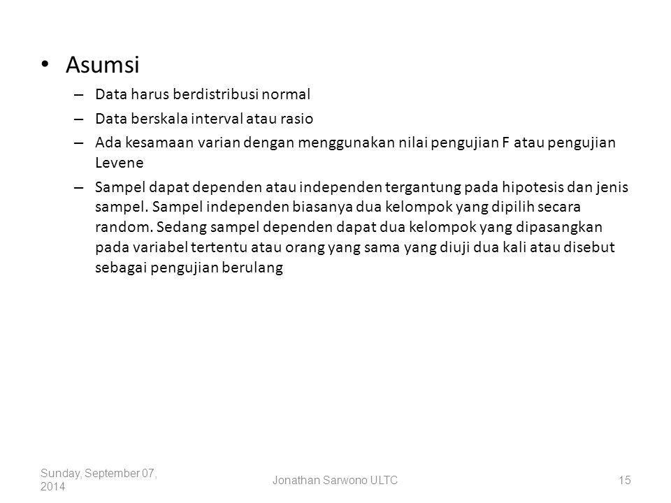 Asumsi – Data harus berdistribusi normal – Data berskala interval atau rasio – Ada kesamaan varian dengan menggunakan nilai pengujian F atau pengujian