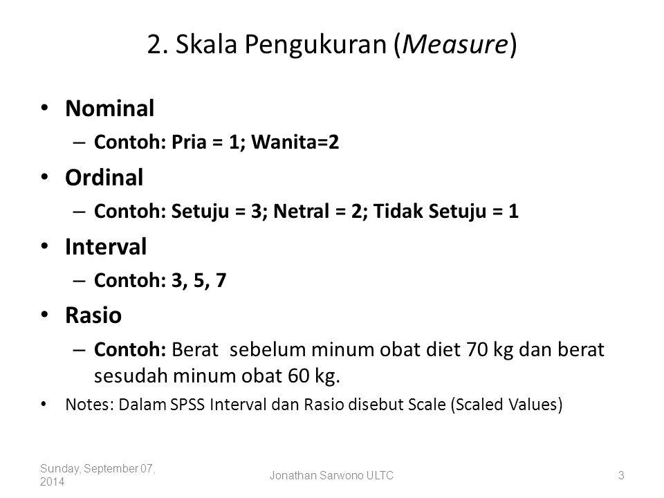 2. Skala Pengukuran (Measure) Nominal – Contoh: Pria = 1; Wanita=2 Ordinal – Contoh: Setuju = 3; Netral = 2; Tidak Setuju = 1 Interval – Contoh: 3, 5,