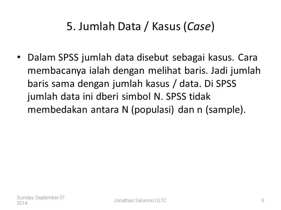 5. Jumlah Data / Kasus (Case) Dalam SPSS jumlah data disebut sebagai kasus. Cara membacanya ialah dengan melihat baris. Jadi jumlah baris sama dengan