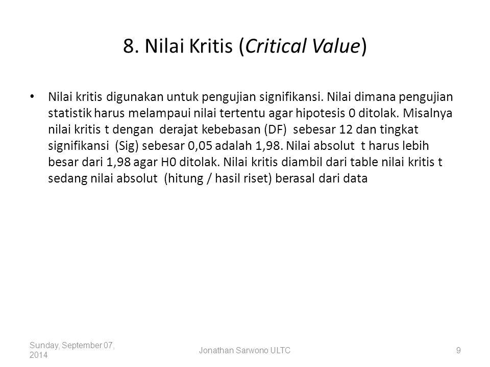 8. Nilai Kritis (Critical Value) Nilai kritis digunakan untuk pengujian signifikansi. Nilai dimana pengujian statistik harus melampaui nilai tertentu