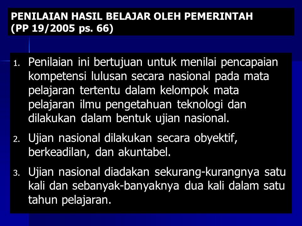 PENILAIAN HASIL BELAJAR OLEH PEMERINTAH (PP 19/2005 ps.