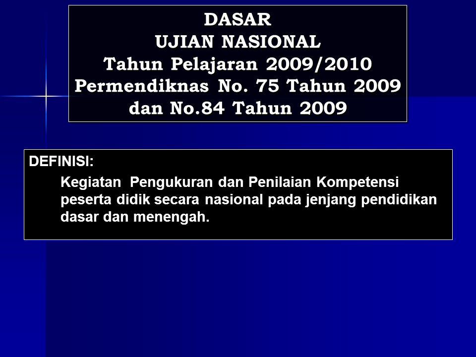 DASAR UJIAN NASIONAL Tahun Pelajaran 2009/2010 Permendiknas No.