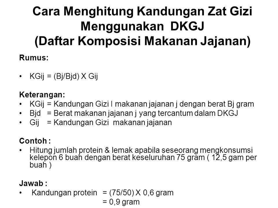 Cara Menghitung Kandungan Zat Gizi Menggunakan DKGJ (Daftar Komposisi Makanan Jajanan) Rumus: KGij= (Bj/Bjd) X Gij Keterangan: KGij= Kandungan Gizi I
