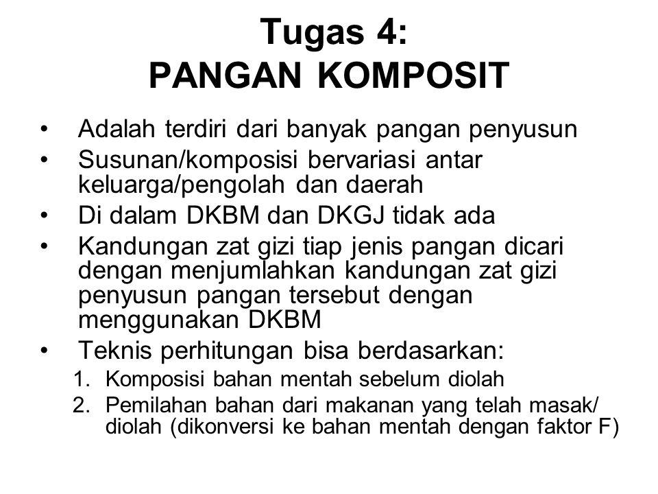 Tugas 4: PANGAN KOMPOSIT Adalah terdiri dari banyak pangan penyusun Susunan/komposisi bervariasi antar keluarga/pengolah dan daerah Di dalam DKBM dan