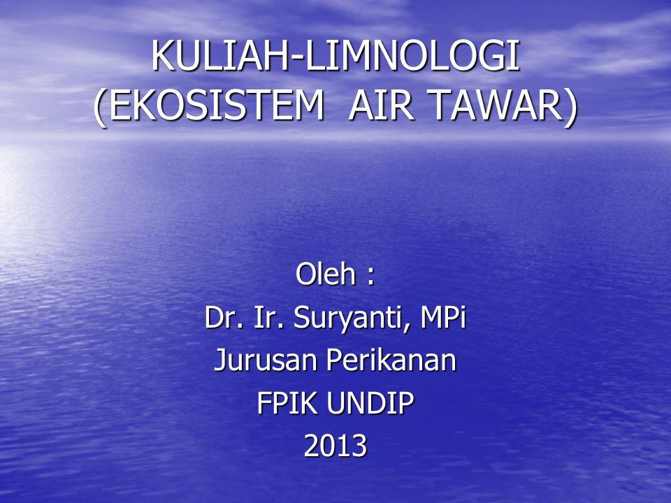 KULIAH-LIMNOLOGI (EKOSISTEM AIR TAWAR) Oleh : Dr.Ir.