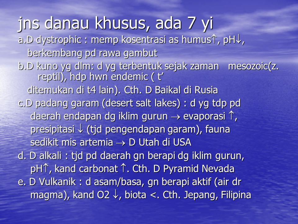 jns danau khusus, ada 7 yi a.D dystrophic : memp kosentrasi as humus , pH , berkembang pd rawa gambut berkembang pd rawa gambut b.D kuno yg dlm: d yg terbentuk sejak zaman mesozoic(z.