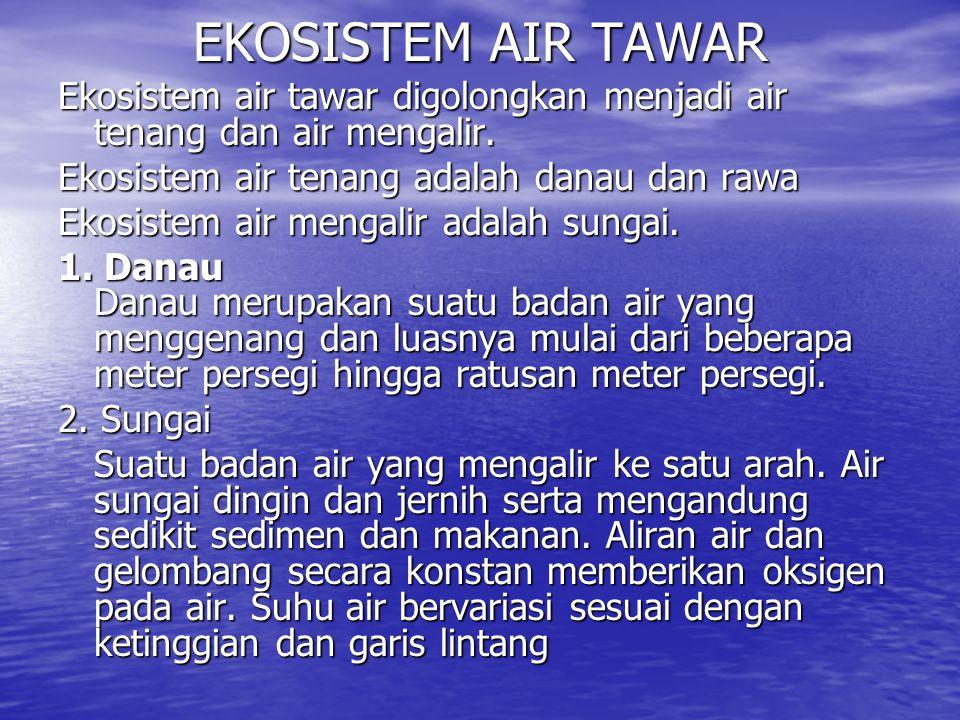 EKOSISTEM AIR TAWAR Ekosistem air tawar digolongkan menjadi air tenang dan air mengalir.