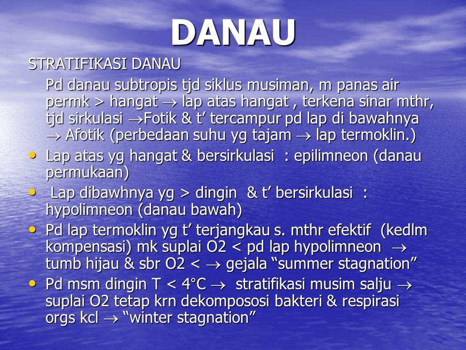 DANAU STRATIFIKASI DANAU Pd danau subtropis tjd siklus musiman, m panas air permk > hangat  lap atas hangat, terkena sinar mthr, tjd sirkulasi  Fotik & t' tercampur pd lap di bawahnya  Afotik (perbedaan suhu yg tajam  lap termoklin.) Lap atas yg hangat & bersirkulasi : epilimneon (danau permukaan) Lap atas yg hangat & bersirkulasi : epilimneon (danau permukaan) Lap dibawhnya yg > dingin & t' bersirkulasi : hypolimneon (danau bawah) Lap dibawhnya yg > dingin & t' bersirkulasi : hypolimneon (danau bawah) Pd lap termoklin yg t' terjangkau s.