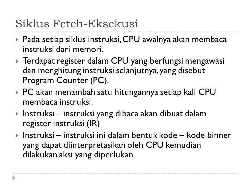 Siklus Fetch-Eksekusi  Pada setiap siklus instruksi, CPU awalnya akan membaca instruksi dari memori.