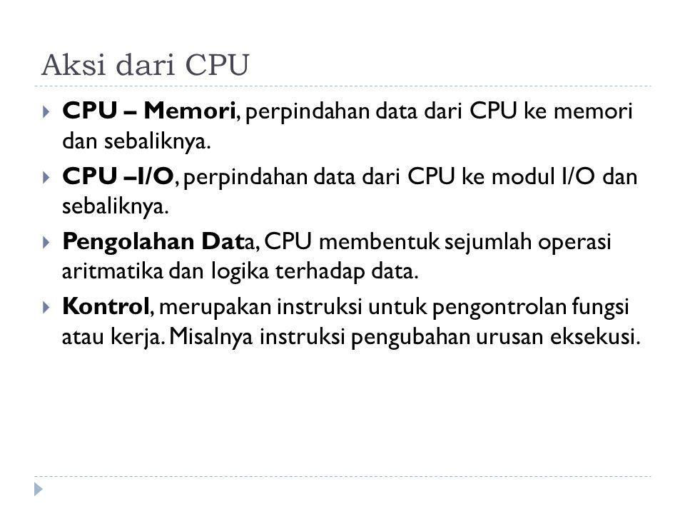 Aksi dari CPU  CPU – Memori, perpindahan data dari CPU ke memori dan sebaliknya.