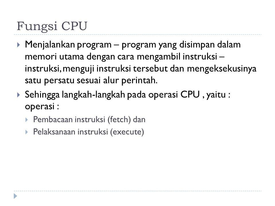 Fungsi CPU  Menjalankan program – program yang disimpan dalam memori utama dengan cara mengambil instruksi – instruksi, menguji instruksi tersebut dan mengeksekusinya satu persatu sesuai alur perintah.