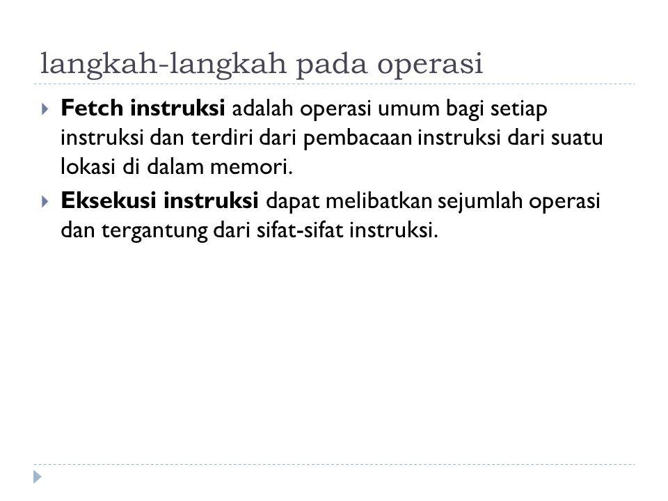 langkah-langkah pada operasi  Fetch instruksi adalah operasi umum bagi setiap instruksi dan terdiri dari pembacaan instruksi dari suatu lokasi di dalam memori.
