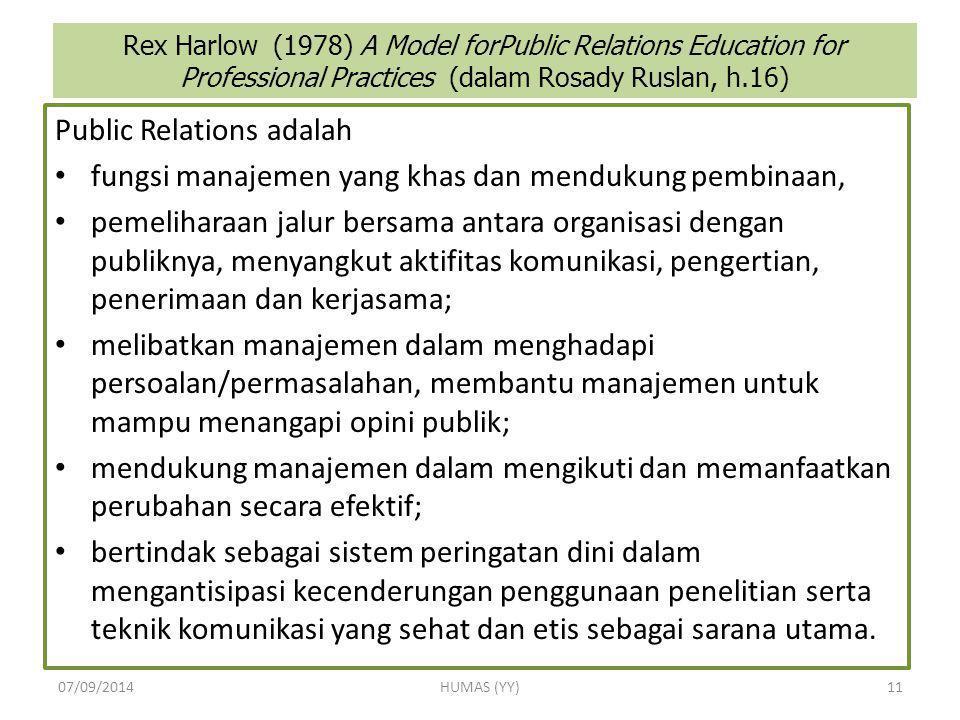 Rex Harlow (1978) A Model forPublic Relations Education for Professional Practices (dalam Rosady Ruslan, h.16) Public Relations adalah fungsi manajeme