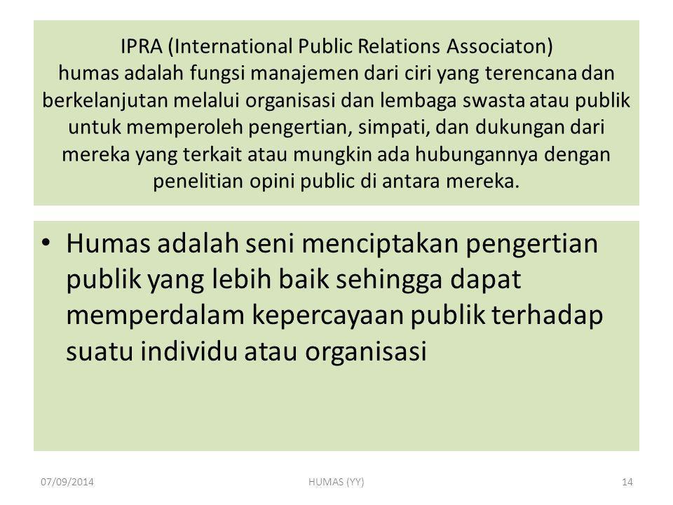 IPRA (International Public Relations Associaton) humas adalah fungsi manajemen dari ciri yang terencana dan berkelanjutan melalui organisasi dan lemba