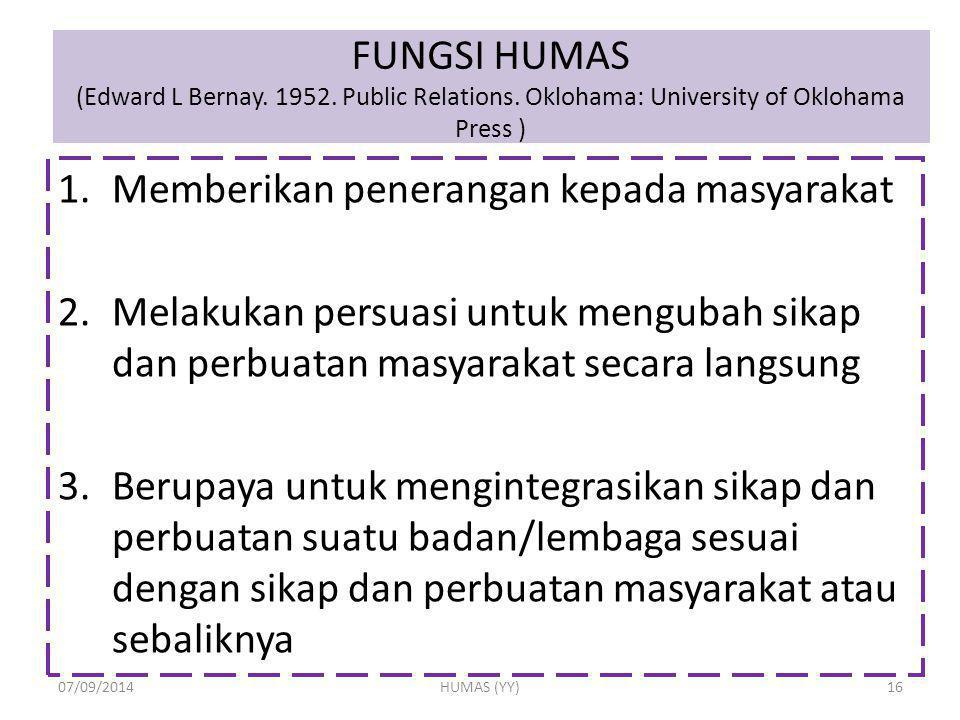 FUNGSI HUMAS (Edward L Bernay. 1952. Public Relations. Oklohama: University of Oklohama Press ) 1.Memberikan penerangan kepada masyarakat 2.Melakukan