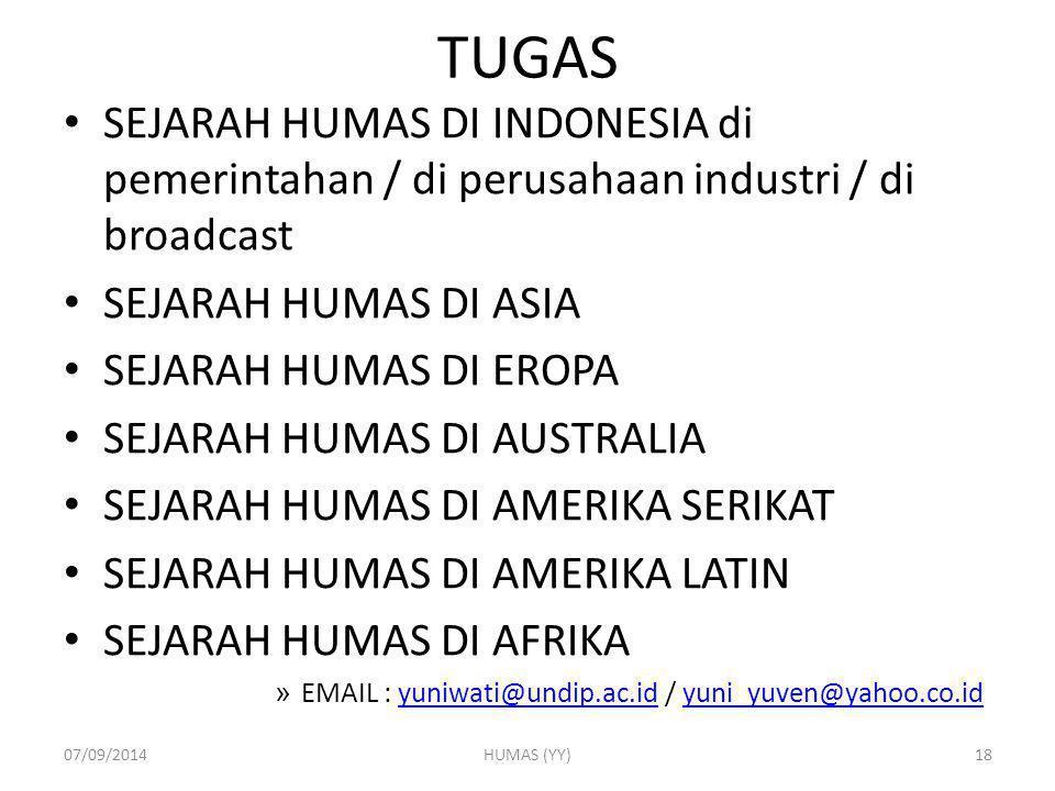 TUGAS SEJARAH HUMAS DI INDONESIA di pemerintahan / di perusahaan industri / di broadcast SEJARAH HUMAS DI ASIA SEJARAH HUMAS DI EROPA SEJARAH HUMAS DI