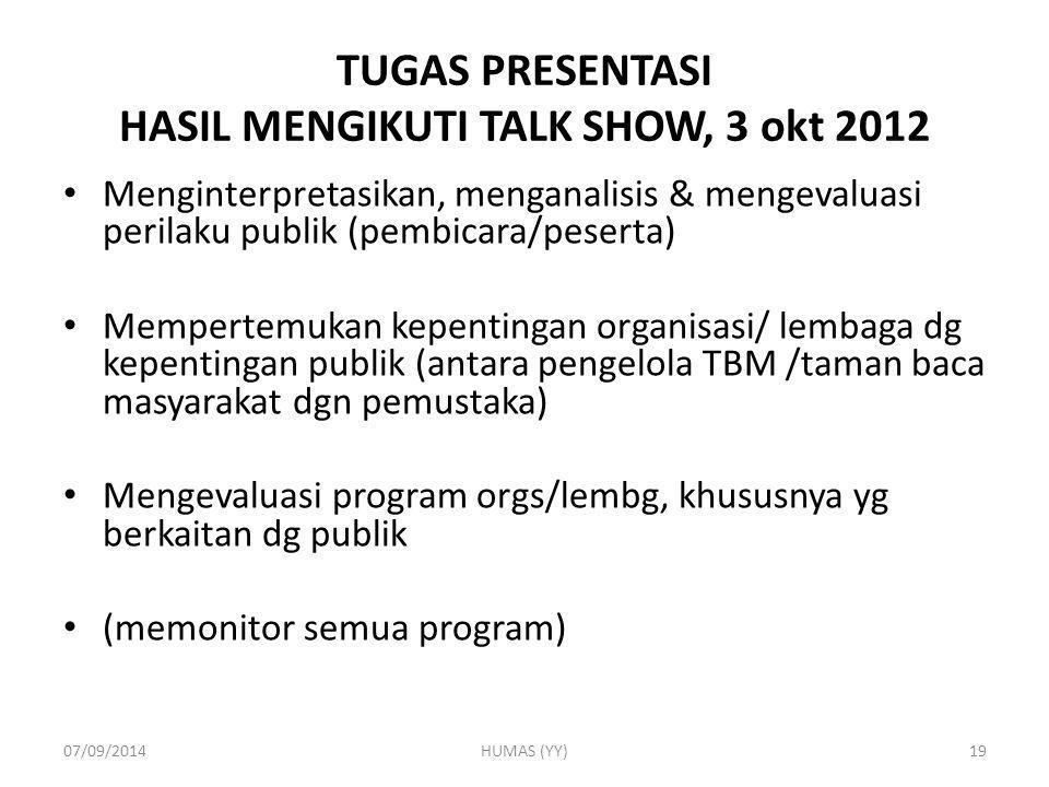TUGAS PRESENTASI HASIL MENGIKUTI TALK SHOW, 3 okt 2012 Menginterpretasikan, menganalisis & mengevaluasi perilaku publik (pembicara/peserta) Mempertemu