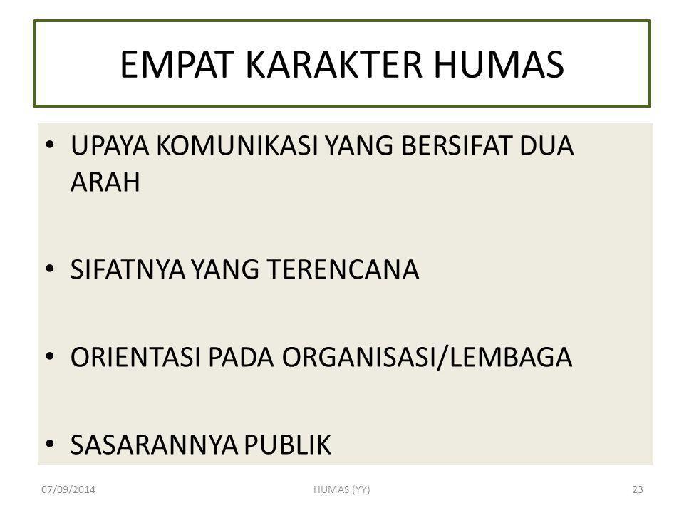 EMPAT KARAKTER HUMAS UPAYA KOMUNIKASI YANG BERSIFAT DUA ARAH SIFATNYA YANG TERENCANA ORIENTASI PADA ORGANISASI/LEMBAGA SASARANNYA PUBLIK 07/09/2014HUM