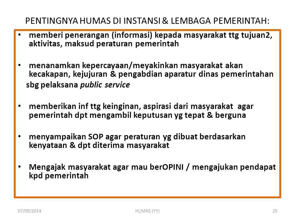 PENTINGNYA HUMAS DI INSTANSI & LEMBAGA PEMERINTAH: memberi penerangan (informasi) kepada masyarakat ttg tujuan2, aktivitas, maksud peraturan pemerinta